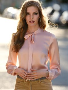 Tie neck silk satin shirt