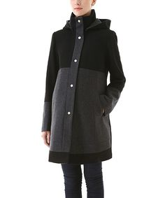 Love this Momo Black Empire-Waist Kenna Wool-Blend Maternity Coat by MOMO Maternity on #zulily! #zulilyfinds