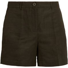 Tomas Maier Mid-rise straight-leg shorts (2,445 GTQ) ❤ liked on Polyvore featuring shorts, woven shorts, mid rise shorts, flat front shorts, olive green shorts and tailored shorts