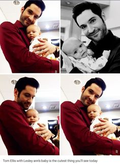 Tom Ellis with Lesley-Ann Brandt's baby behind the scenes at Lucifer. Series Movies, Movies And Tv Shows, Lesley Ann Brandt, Tom Ellis Lucifer, I Love Cinema, Morning Star, Joseph Morgan, Movie Tv, Fangirl