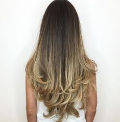 Balayage hairstyle with layered ends long dark hair, long hair cuts, long. Balayage Hair Blonde, Brown Blonde Hair, Ombre Hair, Balayage Hairstyle, Hot Haircuts, Haircuts For Long Hair, Long Hair Cuts, Long Hair Styles, Haircut Long