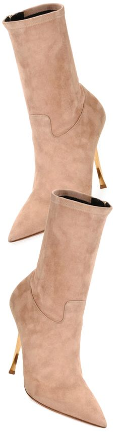 Valentino Garavani Stretch-Suede Point-Toe Mid-Calf Boot