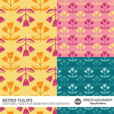 Maedchenwahn Illustration Pattern Design RETRO TULIPS for ALLES FÜR SELBERMACHER  http://www.alles-fuer-selbermacher.de/index.php?route=product%2Fsearch&filter_name=maedchenwahn#results