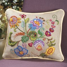 Cambridge Pillow Top Crewel Embroidery Kit - Cross Stitch, Needlepoint, Embroidery Kits – Tools and Supplies