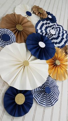 DIY Inspiration / Nautical Striped Navy and Gold Boy Party Set of 12 Rosettes Baby Shower Themes, Baby Boy Shower, Nautical Party, Nautical Backdrop, Diy Birthday, Sailor Birthday, Birthday Decorations, Paper Flowers, Backdrops