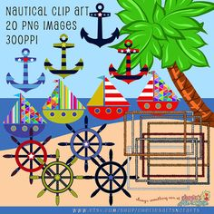 Marked down! #nauticalclipart #cuteclipart Nautical Clip Art Kit Anchors Clip Art Boats by CheriesArtsnCrafts