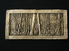 Trees and Woods Ceramic Pottery Porcelain Relief Tile. $26.00, via Etsy.