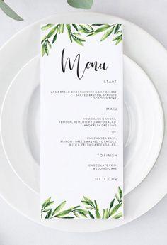 How To Choose A Tasty Wedding Menu – Wedding Candles Ideas Wedding Menu Template, Wedding Menu Cards, Wedding Stationery, Wedding Table, Wedding Dinner Menu, Wedding Invitation, Homemade Gnocci, Printable Menu, E Design