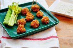 Buffalo Chicken Meatballs w/Blue Cheese Dressing #thelittlekitchenthatcould