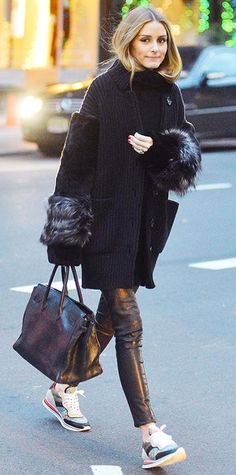 Palermo stepped out in New York City, where she braved the cold weather in a pair of striking chunky Etro sneakers teamed with an all-black ensemble.