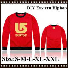 Free Shipping DIY Eastern Hiphop Burton Brand Hiphop Style New Arrival Red Color Golden Logo Print Man Sweatshirt Pullover  $29.99