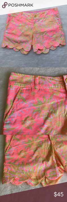 """Lilly Pulitzer Neon Pink Buttercup Shorts size 0 Preowned authentic Lilly Pulitzer Neon Pink Buttercup Shorts size 0. Inseam is 5"""" inches. Waist laying flat is 15.5"""" inches. Rise is 7"""" inches. Please look at pictures for better reference. Happy shopping! Lilly Pulitzer Shorts"""