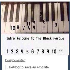 I need a piano right now! My Chemical Romance ❤ Piano Songs, Piano Sheet Music, Jouer Du Piano, John Johnson, Fall Out Boy, Playlists, Music Stuff, Music Bands, Emo Bands