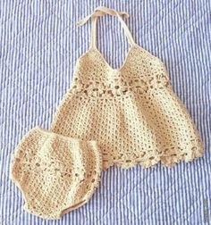 Crochet set for baby-open sarafan and panties decorated with inlays of flower-motives Crochet Baby Bikini, Bikinis Crochet, Baby Girl Crochet, Crochet Bebe, Crochet Baby Clothes, Crochet For Kids, Knit Crochet, Crochet Hats, Crochet Children