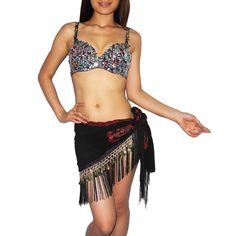 2 PIECE SET: Ladies Exotic Belly Dance Sexy Sequins Beaded Top  Golden Coins Scarf - Size: 38B