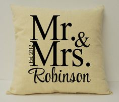 Personalized Pillow Personalized Wedding by Makeitpersonalsc, $36.00