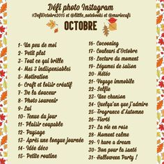défi photo instagram octobre
