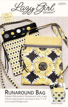 PATTERN RUNAROUND BAG by Lazy Girl Designs by WeDoQuilts on Etsy, $7.50