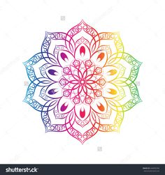 Vector Spectral Flower Mandala Over White. Tattoo, Astrology, Alchemy, Boho And Magic Symbol For Your Projects - 444995704 : Shutterstock Colorful Mandala Tattoo, Flower Mandala, Unalome, Mandela Drawing, Chakra Art, Cool Doodles, Magic Symbols, Colorful Pictures, Beautiful Pictures