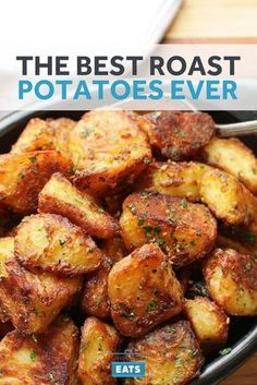 The crispiest, most flavorful roast potatoes you'll ever make. Large chunks of potato maximize the contrast between exterior and interior. Parboiling the potatoes in alkaline water breaks down their surfaces, creating tons of starchy slurry for added surf Potato Dishes, Vegetable Dishes, Food Dishes, Vegetarian Recipes, Cooking Recipes, Healthy Recipes, Quick Potato Recipes, Russet Potato Recipes, Golden Potato Recipes