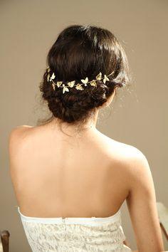 Feuille de couronne de cheveux / or Couronne grecque / mariée bijoux de cheveux / cheveux de mariage accessoire / Gold Leaf nuptiale bandeau / diadème d'or