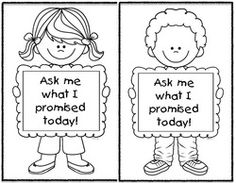 """Classroom management activities: """"Ask me what I promised today!"""" color me activity children do after you explain the rules & they promise to obey them."""