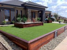 Front Yard Garden Design Cool front garden - What's a better choice if you need a retaining wall or retaining walls? Landscaping Retaining Walls, Modern Front Yard, Modern Landscaping, Yard Design, Front Yard Design