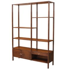 Midcentury Walnut Display Bookshelf Unit | From a unique collection of antique and modern bookcases at https://www.1stdibs.com/furniture/storage-case-pieces/bookcases/