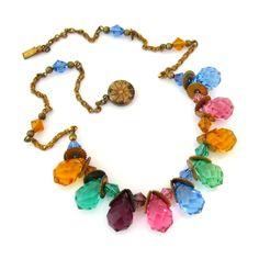 ART DECO Briolette Glass Necklace Vtg 1930s Czech Style Bead Brass-tone Choker #Unsigned
