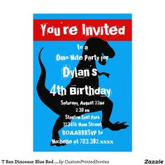 T Rex Dinosaur Blue Red Birthday Party Invitation for boys.