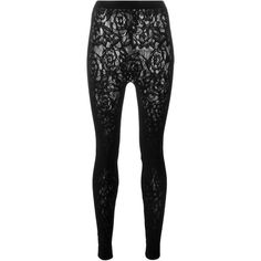 McQ Alexander McQueen floral embroidered lace leggings ($185) ❤ liked on Polyvore featuring pants, leggings, black, high waisted pants, stretchy pants, high waisted trousers, legging pants and high-waist trousers