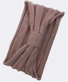 Bow Tie Winter Headband - Light Brown