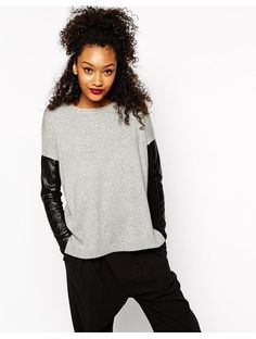River Island Jumper With Leather Look Sleeve - Grey http://sellektor.com/all?q=river+island