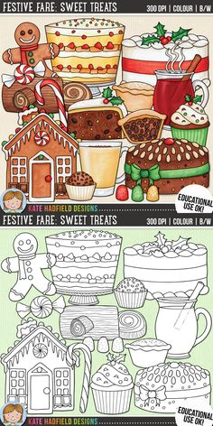 Christmas Food Clip Art for teachers by Kate Hadfield Designs   Teachers Pay Teachers. Supplied in both hand-painted coloured versions and black and white outlines!