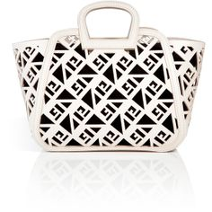 RALPH LAUREN COLLECTION Leather Greek Tote with Bright White Laser Cut Leather and Integrated Logo