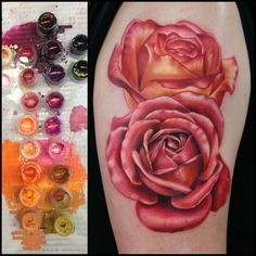 Gorgeous Rose Tattoo By Rich Pineda  Love this coloring and would love it for my shoulder roses