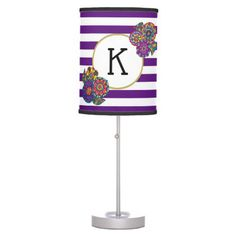 Elegant Colorful Flowers Purple Striped Monogram Desk Lamp - elegant gifts gift ideas custom presents