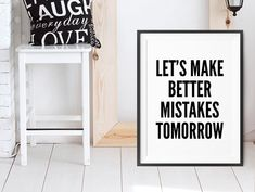 Mistakes Motivational Poster, wall art prints, quote posters, minimalist, black and white prints, let's make better mistakes tomorrow