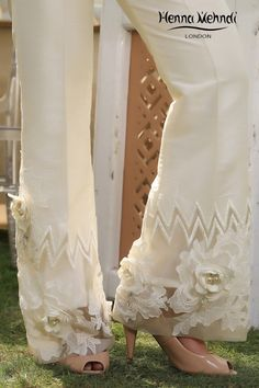 Ivory And Grey Pearl & Accessories Embroidered Trousers – Henna Mehndi Classy Outfits, Pretty Outfits, Beautiful Outfits, Fashion Pants, Fashion Dresses, Bridal Mehndi Dresses, Pakistani Formal Dresses, Jogging, Red Bridesmaid Dresses