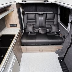 """Traditional """"Lux"""" Conversions - New Wave Custom Conversions Vw T5 Interior, Campervan Interior, Vw Camper Conversions, Land Rover Defender, Camper Van, Van Life, Motorhome, Campers, Car Seats"""