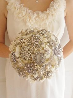 Brooch Bouquet Wedding Bridal Handmade with Silk Hydrangeas | eBay $600 buy it now.