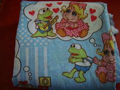 VTG 1980/'s Muppets Themed Twin Bed Sheet Flat Henson Kermit Used 80s Fabric