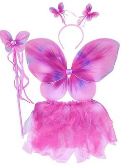 Girl/'s 3 Pcs Set Fairy Princess Glitter Butterfly Party Costume Wings Wand B2T3