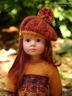 OOAK Hand-Knitted Fall Dress/Beret for Gotz Happy Kidz dolls by Debonair Designs #DebonairDesigns