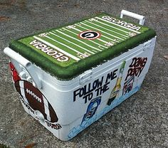 Cooler my friend painted for her Dad, so cool!- Maybe make one for my dad for christmas?!?