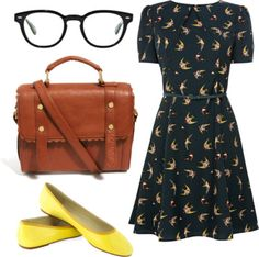swallow birds by peppahwood featuring Oliver Peoples  Oasis skinny belt, $79 / Ballet flat / ASOS satchel handbag, $36 / Oliver Peoples sung...