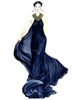 Runway Fashion Illustration  Ralph Lauren by sunnygu on Etsy, $30.00-- Beautiful fabric rendering