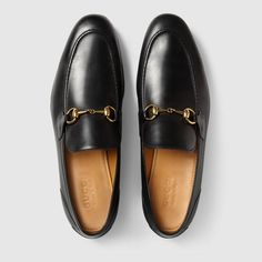 Shop the Gucci Jordaan leather loafer by Gucci. Leather loafer designed with an elongated toe and Horsebit detail. Mens Moccasins Loafers, Leather Loafers, Loafer Shoes, Gucci Loafers Mens, Shoes Sandals, Men's Loafers, Black Loafers, Gucci Jordaan Loafer, Mens Designer Loafers