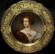 Amalie Freiin von Kruedener  Portrait plate signed Wagner