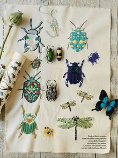 Beetlemania Beautiful coloured beetles and dragonflies created by Victoria Vicente, Lucien Isadora and Luna Menot forMarie Claire Idées via poppytalk.com Embroidery Ideas, Beginner Embroidery, Embroidery Patches, Hand Embroidery, Cross Stitch Embroidery, Broderie Simple, Diy Broderie, Sewing Art, Love Sewing